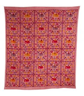 Tessuto di cotone India - elefanti pittura - artigiano-240 x 210 cm
