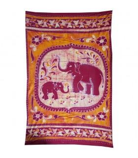 Inde-Cotton- Famille d'éléphant-Artisan-210 x 135 cm