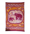 Fabric cotton-India - family elephant - 210 x 135 cm