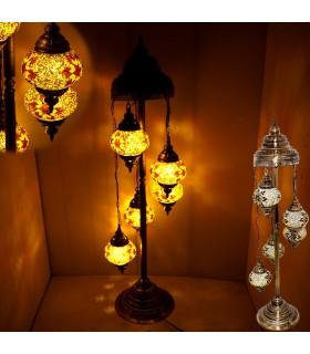 Lampara Turca 5 Bolas - Suelo - Altura 110 cm - Cristal Murano - Mosaico