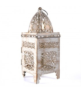 Lantern aged-white-rectangle-latticed openwork - 21 cm