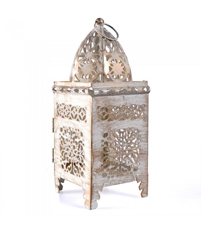 Lantern aged-white-rectangle-latticed openwork - 21 cm