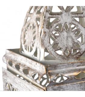 Openwork envelhecida-branco-retangular-entrelaçada de lanterna - 21 cm