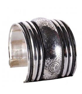 Wide silver Bangle - Suns - NOVELTY