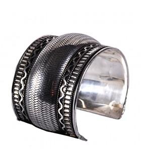 Bracelet large argent - peau de serpent - nouveauté