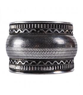 Широкий серебряный браслет - змеиной кожи - Новинка