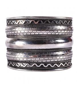 Argent bracelet large - bande Triple - nouveauté