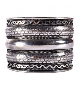 Bangle silver wide - strip Triple - NOVELTY