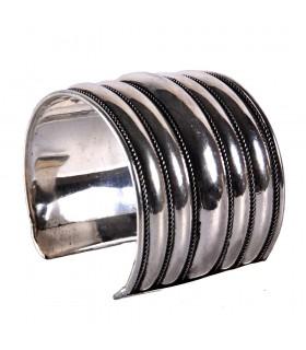 Pulseira larga de prata - Penta Strip - novidade