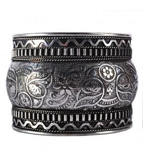Silver bracelet - Floral Print - Alpaca