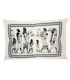 Tribù di tessuto cotone India-Familia Africana-Quesería - 140 x 210 cm