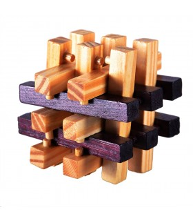 Game cube wood detachable - wit - puzzle - 7 x 7 cm