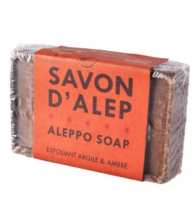 Aleppo sabão - argila e amber - natureza - casca - 100 g
