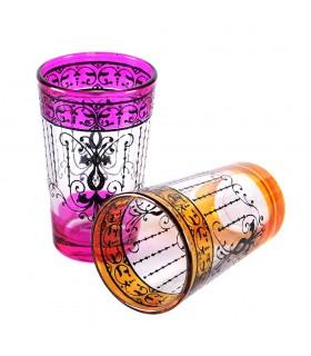 Juego 6 Vasos de Té Grabados -  Filigrana Floral Henna - Diseño Mariposa