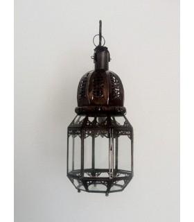 Fer octogonale lanterne percé - pour accrocher ou à poser - 37 cm