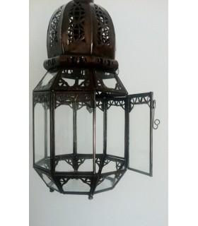 Octogonal ferro lanterna perfurado - para pendurar ou pose - 37 cm
