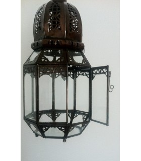 Octagonal iron Lantern pierced - to hang or pose - 37 cm