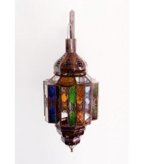 Achteckige Lampe Andalusi - Multicolor Glas - 60 cm