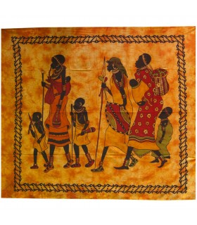 Fabric cotton India-Familia tribe Africana-Artesana - 240 x 210 cm