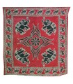 Fabric cotton wool India - elephants Floral - artisan-240 x 210 cm