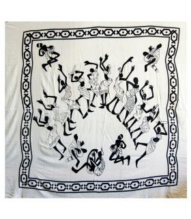 Tela Algodon Blanco Negro-Fiesta Áfricana-Artesana-210 x 240 cm