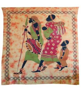 Tecido de algodão Africana-Artesana Índia-Familia - 210 x 240 cm