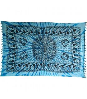 Stoff Indien Ohm Fransen - 140 x 210 cm
