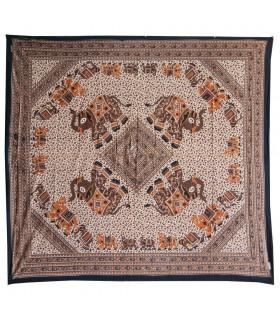 Fabric cotton India - elephants Rhombus - Artisan-210 x 240 cm