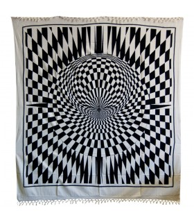 Fabric cotton India - illusion optical - artisan - 240 x 220 cm