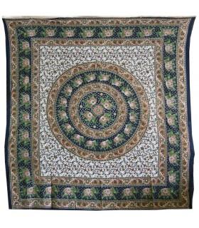 Tissu coton fond Floral d'Inde - sphère éléphants - - 220 x 210 cm