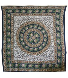 Tecido de algodão Floral fundo de India - esfera elefantes - - 220 x 210 cm