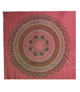Artesão para - esfera elefantes Garnet - de India do algodão tecido - 220 x 220 cm