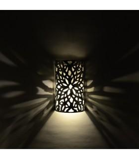 Aplique Pared Alumino Calado - Diseño Floral - Acabado Pulido - 20 cm
