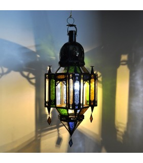 Lampe verre andalouse couleurs pendentif - 3 tailles - arabe