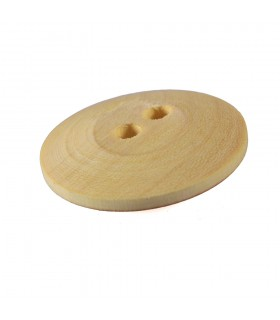 Double lemon wood button hole - handmade - 3 cm