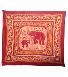 Fabric cotton-India - family elephant - 210 x 240 cm