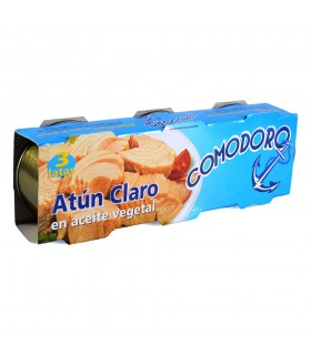 Atún Claro En Aceite Vegetal - COMODORO - Pack 3 Latas - Abre Fácil