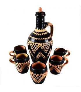 Game decanter with glasses - Berber-style - ceramic - craft piece