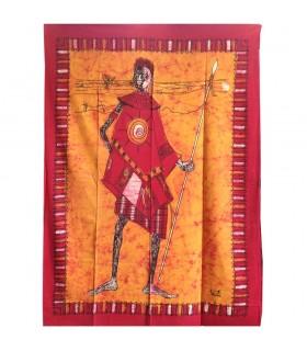 Tela Algodon India-Cazador Masai -Artesana-140 x 210 cm