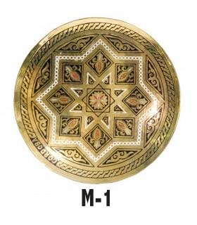 Placca di bronzo incisa - disegni geometrici arabi - 13 cm