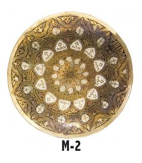 Plaque de bronze gravée - dessins géométriques arabes - 13 cm