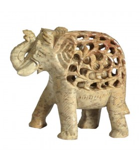 Elefant durchbrochene Onyx mit Kind innen - Kunsthandwerk - 13 cm - Glück