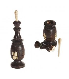 Recipiente Y Palo de Madera Negro (Kujul-Kajal) - 2 Tamainos