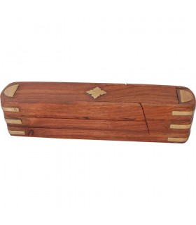 Red Wood Pencilbox - Incense Box - Rotating - 3 Compartments