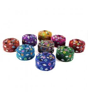 Boîte - boîte à pilules - diverses couleurs - sans velours brillante ronde