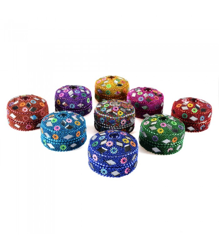 Bright round box - pill box - various colors - without velvet