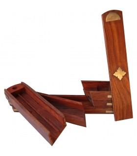 Madeira rotativa incensario-Lapicero - 3 compartimentos - vermelho