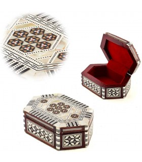 White Oval Box - Nacar - Velvet - Inlaid in Egypt