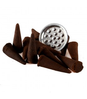 Cones incenso Goloka - Patchouli - 12 unidades - inclui Base