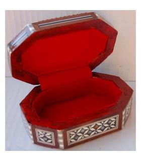 Cajita Ovalada Blanca - Nacar - Terciopelo - Taracea de Egipto